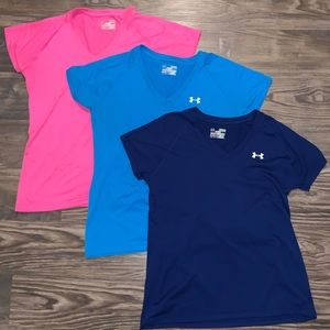 Lot of 3 Under Armour v-neck tees